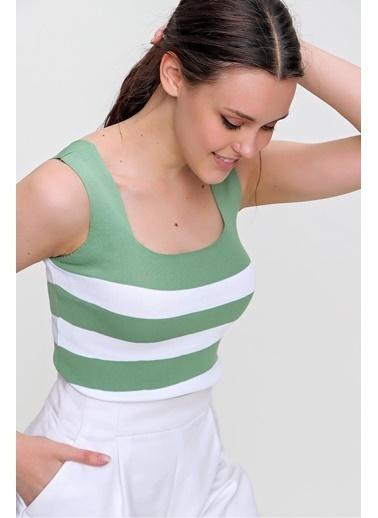 Pink Park Çizgili Triko Crop Bluz YL00008 Yeşil